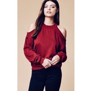 Honey punch distressed cold shoulder sweater
